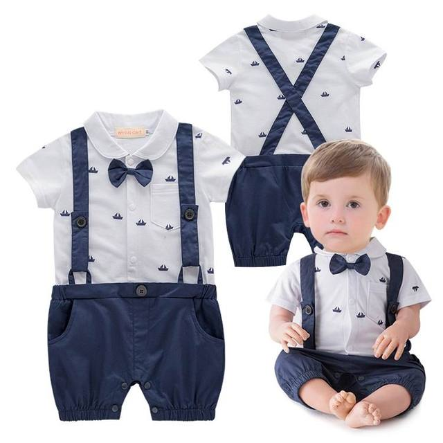 ec9f83afd Baby Boys Gentleman Rompers Ship anchor Print Summer One Piece Short ...