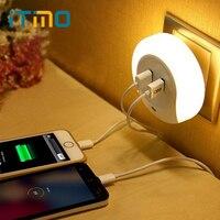 Novelty LED Night Light With 2 USB Port For Mobile Phone Charger Light Sensor Atmosphere Lamp