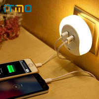 Novelty LED Night Light With 2 USB Port For Mobile Phone Charger Light Sensor Atmosphere Lamp