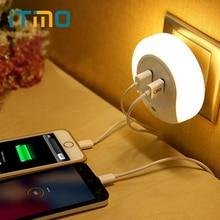 Novelty LED Night Light with 2 USB Port for Mobile Phone Charger Light Sensor Atmosphere Lamp For Bedroom Living Room Warm White