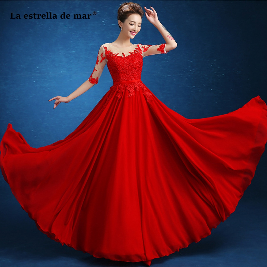 Vestido madrinha new Scoop neck lace chiffon Half sleeve A Line red   bridesmaid     dresses   long wedding guest gowns