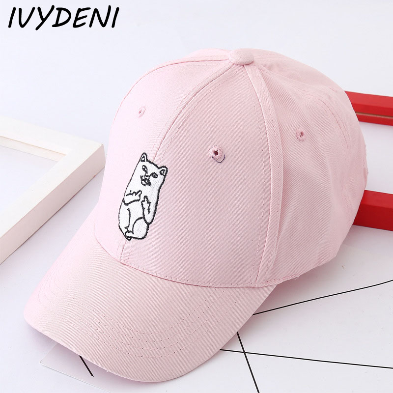 2017 New Summer Cute Cat Pattern Baseball Cap Casquette Casual Snapback Hats for Men Women Cool Polo Hockey Hip Hop Dad Hat 2016 new new embroidered hold onto your friends casquette polos baseball cap strapback black white pink for men women cap