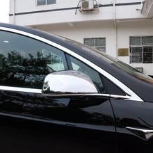 Exterior ABS Chrome Car Rearview Mirror Cover Trim 2pcs  fit  for Tesla Model X 2016-2018
