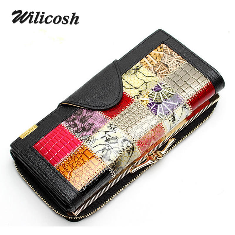Fashion Genuine Leather Women Wallets Patchwork Hasp Coin Pocket Female bag Clutch Carteira Feminina Purse Wallet L352