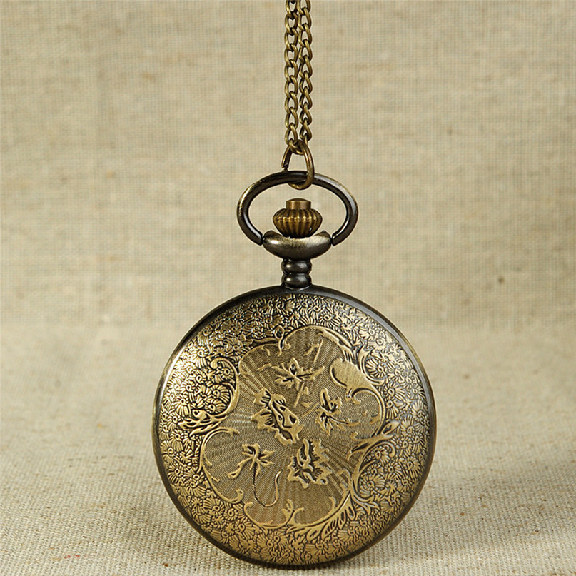 Watches Men Vintage Bronze Tone Spider Web Design Chain Pendant Men's Pocket Watch Gif Handsome Relogio Masculino Antique M5 unique smooth case pocket watch mechanical automatic watches with pendant chain necklace men women gift relogio de bolso
