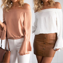 Celmia Plus Size 3XL Women Sexy Off Shoulder Chiffon Blouse Vintage Casual Solid Flare Long Sleeve Tops Shirt 2019 Summer Blusa