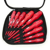 9 In 1 Electricians Grade Insulated Screwdriver Set PP Coating Anti Shock Red Handled Magnetic Head