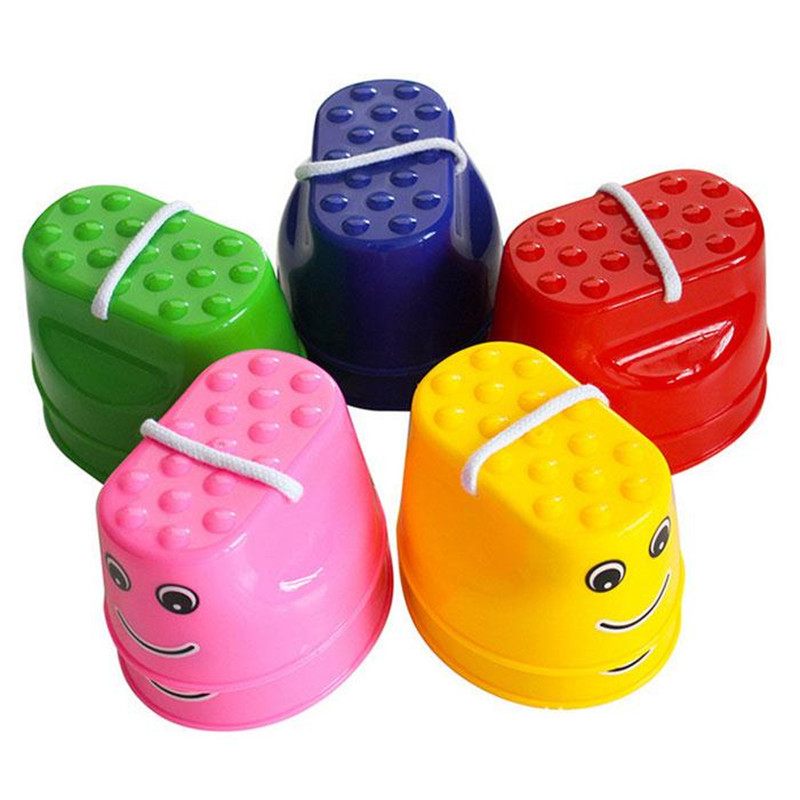 new 1 Pair Kids Funny Plastic Walk Stilt Jump Outdoor Fun Sports Balance Training Equipment Random Color