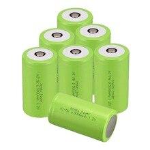 Russa Vendedor! COR Verde 8 PCS Tamanho D 5000 MAH 1.2 V Ni-mh Bateria Recarregável Subc SUB C Bateria