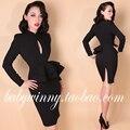 Envío gratis 2015 nuevo otoño elegante vintage classic fake dos piezas vestidos negros vestidos de la manera de la manga completa ropa de mujer