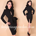 FREE SHIPPING 2015 New Autumn Elegant Vintage Classic Fake Two Pieces Black Dresses Full Sleeve Vestidos Fashion Women Clothing