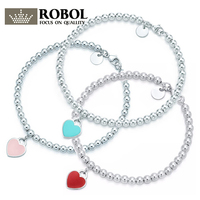 ROBOL Шарм 925 пробы серебряный браслет зеленый розовый красный кристалл в форме сердца Женская Круглый столовое серебро соответствующие ювел...