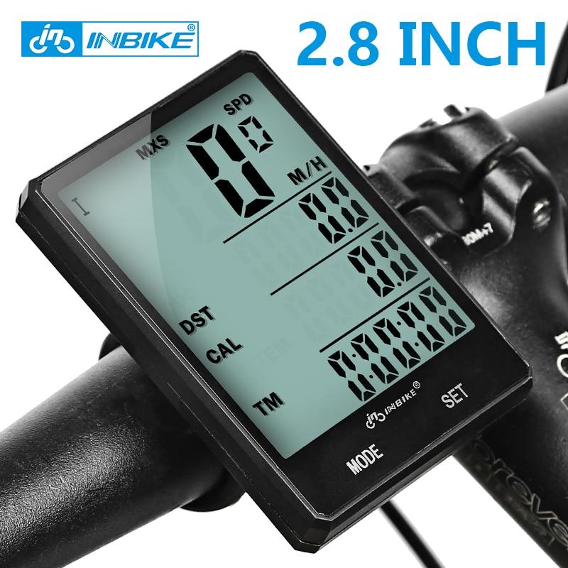 INBIKE 2.8'' Large Screen Bicycle Computer Wireless Bike Computer Rainproof Speedometer Odometer Cycling Measurable Stopwatch