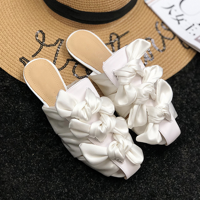 2018 Hot Woman Slipper Bow Tie Decor Fashion Chic Lady Summer Outdoor Shoes Woman Flats Brand Runway Super Star Trendy Slides super slipper taipei