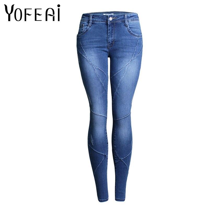 YOFEAI 2017 NEW Jeans Women Fashion Low Waist Jeans Skinny jeans Cross Line Street Style Women