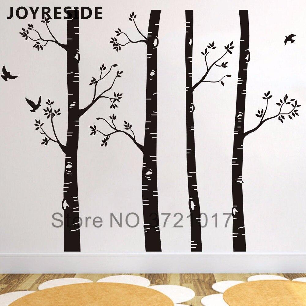 Sticker Oiseaux Sur Un Fil décoration de chambre d'enfant ensemble de 4 bouleau arbre