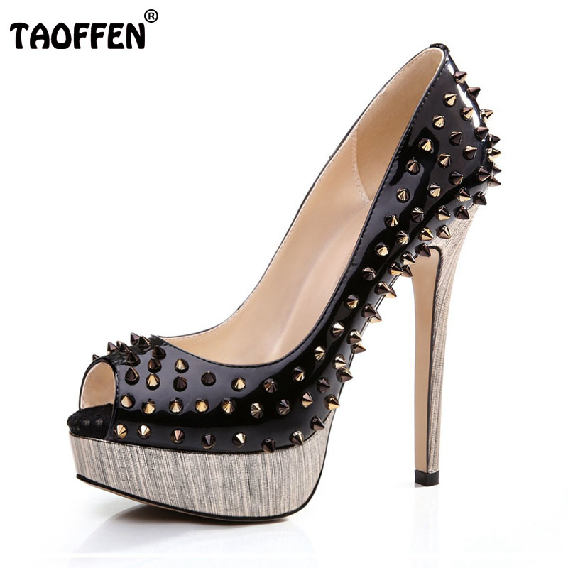 Women High Heel Shoes Brand Quality Platform Peep Open Toe Pumps Lady Fashion Sexy Gladiator Rivets Shoes Women Size 35-46 B072 women high heel shoes brand quality platform round toe pumps ladies fashion sexy gladiator rivets shoes women size 35 46 b195