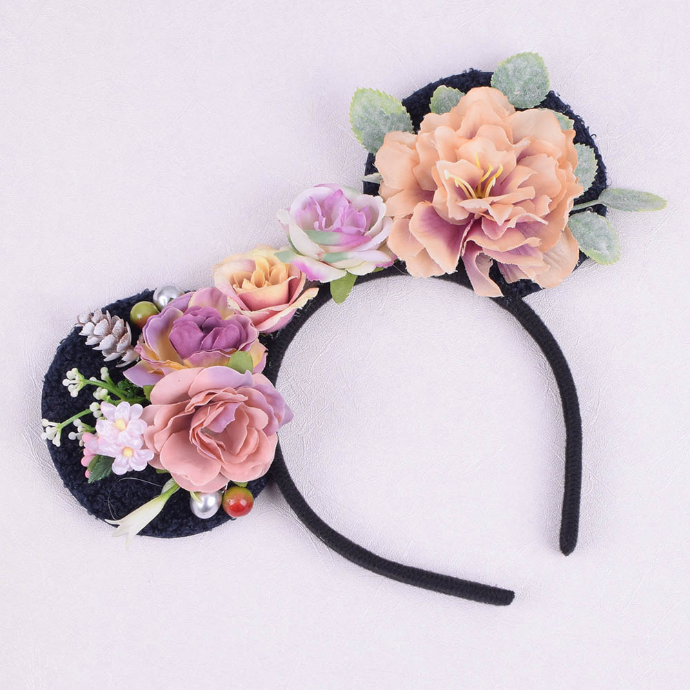 Rose Camellia Peony Minnie Mouse Ear Flower Headband Women Boho Photo Prop Hairband For Kid Girl Party Woman Hair Accessories
