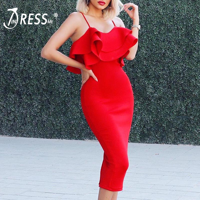 INDRESSME Women Bandage Dress Sexy Slash Neck Spaghetti Strap Elegant Ruffles Midi Bodycon Women Party Dress Vestidos 2018 New