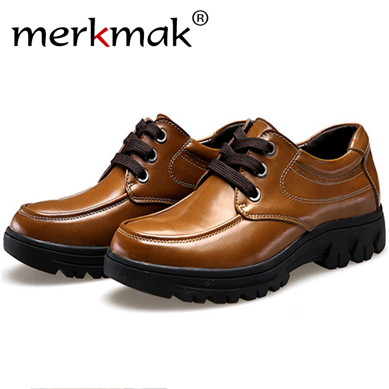Merkmak Shoes Men 2017 Fashion Genuine Leather Casual Brogue Business Big Size 37-50 Men Flats Footear Breathable Zapatos Hombre bullock luxury carved patent leather men shoe business brogue genuine leather casual shoes men flats oxford shoes big size 38 48