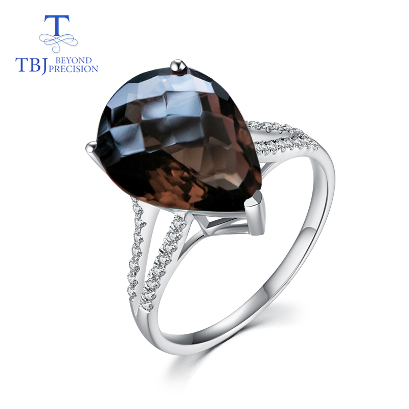 TBJ 100 natural smoky quartz pear 12 16 10ct gemstone Ring for women in 925 sterling