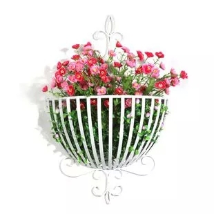 Indoor Outdoor Wall Plant Hanger Flower Pot Holder Hanging Basket Metal Patio