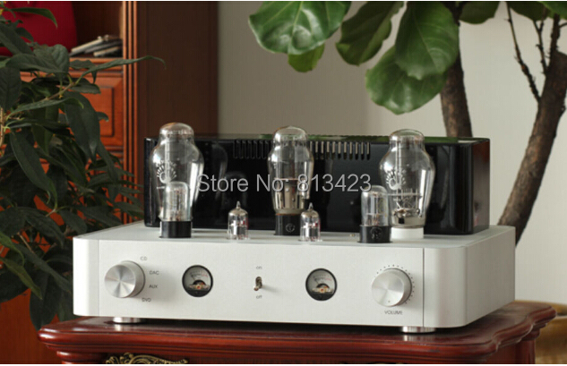 HI-END 300B Single-ended Class A 6N8P HiFi Stereo Tube Amplifier 8.5W*2 Silver Aluminum Chassis iwistao hifi power amplifier 2 x16w class a fet single ended passam whole aluminum casing desktop high quality