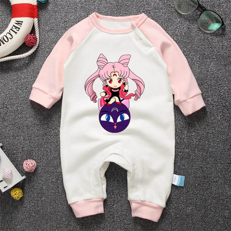 2018 Newborn Baby Boys Girls Clothes Long Sleeve Rompers One Piece Jumpsuit Cartoon Anime Sailor Moon New born infant clothes