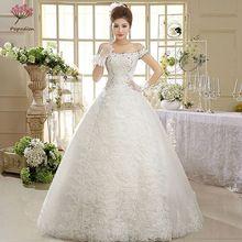 Vestido de novia Sexy Encaje Vintage vestido de novia vestido de boda mujeres embarazadas cuello barco vendaje vestidos de boda WED90140