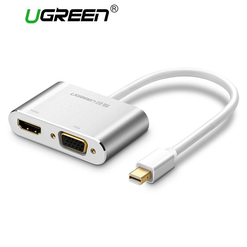 Silver 2 In 1 Thunderbolt Mini Displayport DP To HDMI VGA