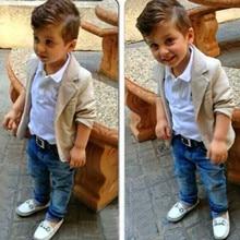 Gentleman Arrival Baby Boys Clothing Sets 3 Pieces Blazer + T Shirt + Jeans European Style Children Casual Suits Kids Wear T21