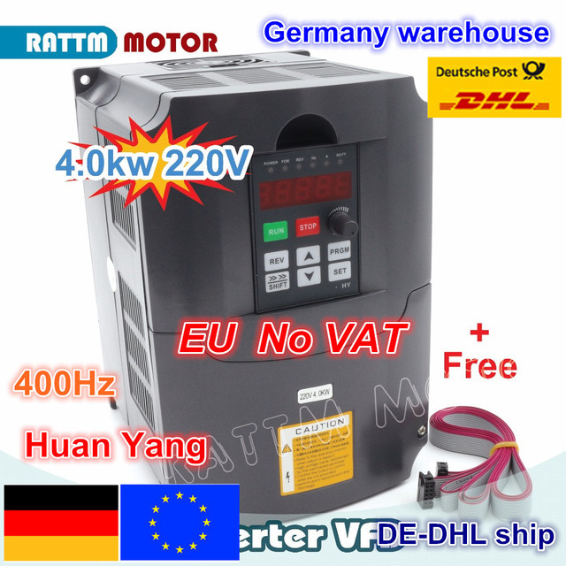 【De 送料 vat】 cnc 4KW 可変周波数ドライブ vfd インバータ 4HP 18A vsd 220 v または 380 v スピンドルモータ速度制御 cnc フライス