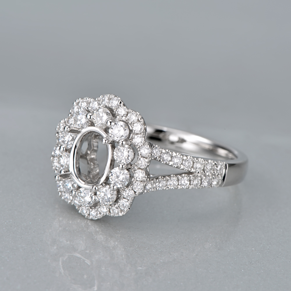 Caimao 14K White Gold Oval 5x7mm 0.93ct Natural Diamonds Engagement - Perhiasan bagus - Foto 4