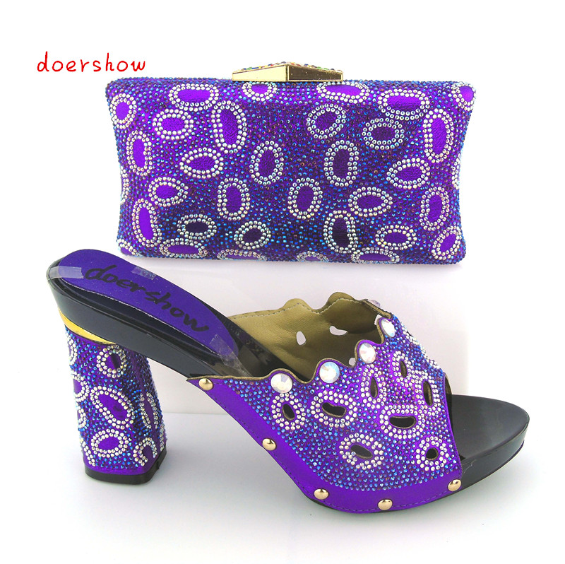 doershow Italian Shoe With Matching Bag For Party purple Stones Wedding Shoes And Bag Set High Quality Women Pumps ! bb1-22 bb1 детям
