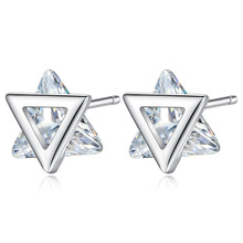 Fashion Triangle Cubic Zirconia 925 Sterling Silver Lady Stud Earrings Original Jewellery For Women Anti Allergy Drop Shipping