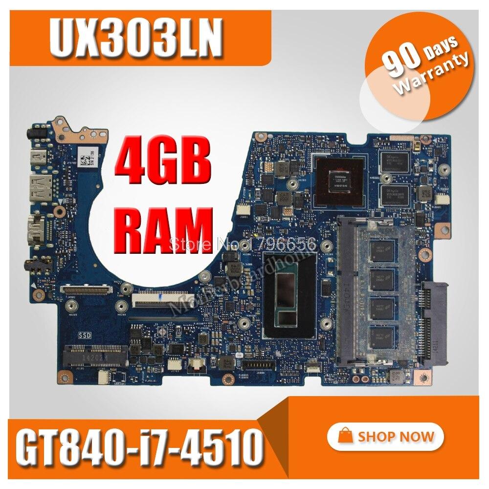 UX303LN motherboard with i7-4510U CPU 4G RAM for ASUS UX303LB UX303LNB UX303LN UX303L U303L Laptop mainboard UX303L Motherboard for asus x75vd x75v x75vc x75vb x75vd x75vd1 r704v motherboard x75vd rev3 1 mainboard i3 2350 gt610 1g ram 4g memory 100
