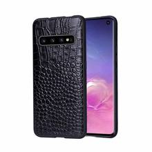 For Samsung GalaxyS10 Plus GalaxyS10E Phone Case Fitted Leather Men Women Water Proof Business Crocodile Pattern