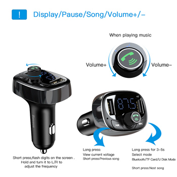 Baseus Car Charger FM Transmitter Aux Modulator Bluetooth Handsfree Car Audio MP3 Player 3.4A Fast Dual USB Mobile Phone Charger 1