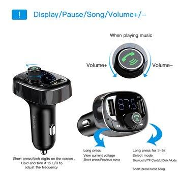 Baseus Carregador de carro Transmissor FM Modulador auxiliar Bluetooth mãos livres Carro Áudio MP3 Player 3.4A Rápido Dual USB Carregador de celular 1