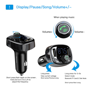 Image 2 - Baseus Car Charger FM Transmitter Aux Modulator Bluetooth Handsfree Car Audio MP3 Player 3.4A Fast Dual USB Mobile Phone Charger