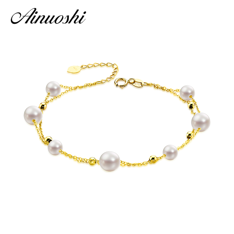 AINUOSHI 18K Yellow Gold Natural Cultured Freshwater Pearl Bracelet Female Elegant Pearl Pulsera Bracelet Jewelry Christmas
