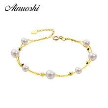 AINUOSHI 18 K Oro Amarillo Natural Cultivadas de agua dulce de La Perla Pulsera de Mujer Perla Elegante Pulsera Pulsera de Regalo De Navidad