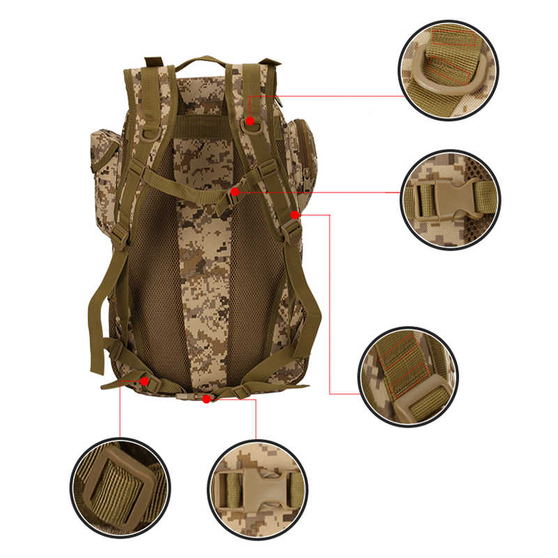 45L Tahan Air Oxford Outdoor Olahraga Militer Molle Taktis Ransel Perjalanan Berkemah Hiking Trekking Ransel Mochila Tas 800D