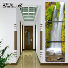 FULLCANG 3 pieces diamond painting landscape waterfall diy triptych mosaic cross stitch 5d embroidery full square drill G1291