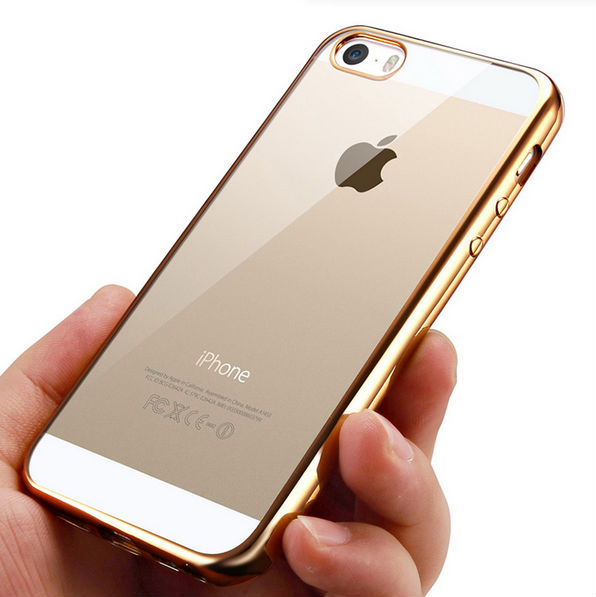 gold iphone 5s case transparent clear soft silica gel silicone cover for 14203