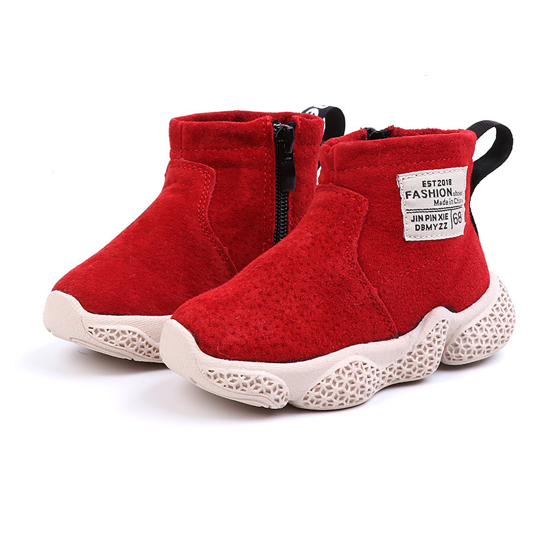 2018 Winter New Children's Shoes Wild Non slip Cotton Boots Boys And Girls Cotton Boots Wear Baby Boots Thick Velvet Personality