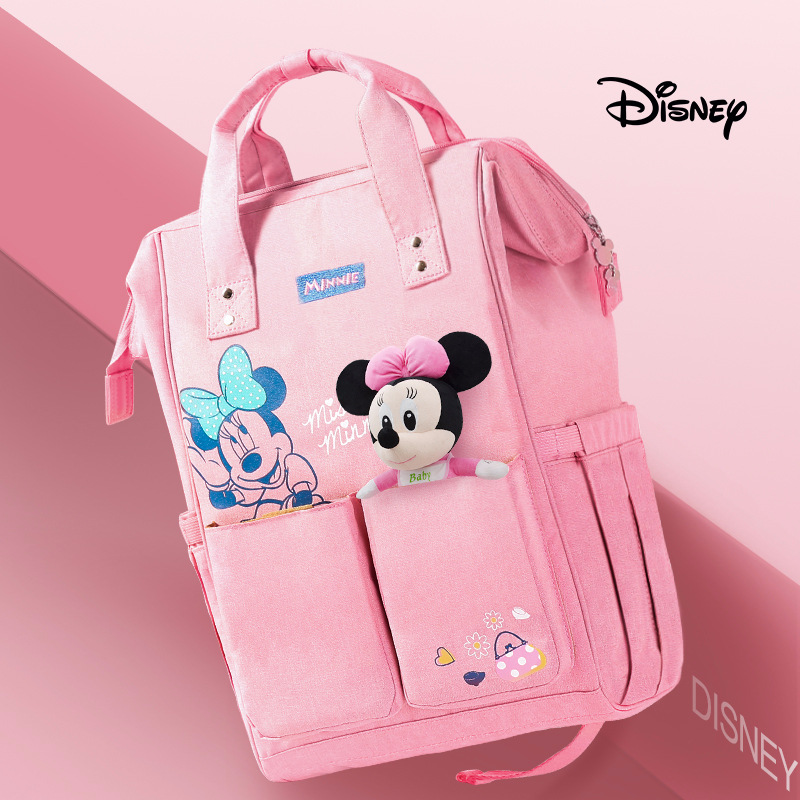 Disney Minnie Mummy Bag Multifunction Capacity Double Shoulder Travel Backpack Baby Handbag Bottle Bag Fashion Insulation Bags