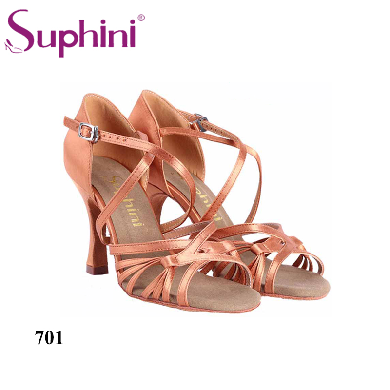 Suphini 2017 Deep tan Satin Dance Shoes Salsa New Ladies Ballroom Latin Salsa Dance Shoes new top grade gift pure tan wooden type h chun tan mu shu h kuan