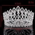 Nova Moda Grande Europeu de Casamento Da Noiva Acessórios Do Cabelo Do Casamento Da Coroa Da Rainha Da Coroa de Cristal Austríaco Grande Rodada HG-G89