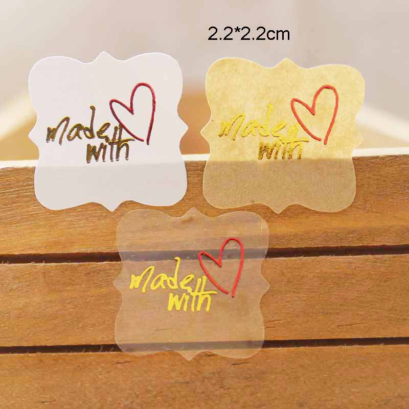 100PCSMulti Style Gold Foil Sticker LabelsVintage Kraft Made With Love Self Seal Lables Square Shape Thank You Gift Tag Labels